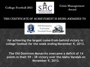 Certificate - Week 11 -Old Dominion