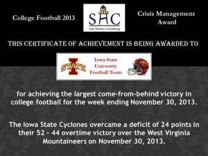 Certificate - Week 14 - Iowa State